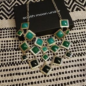 Statement necklace  gold and green